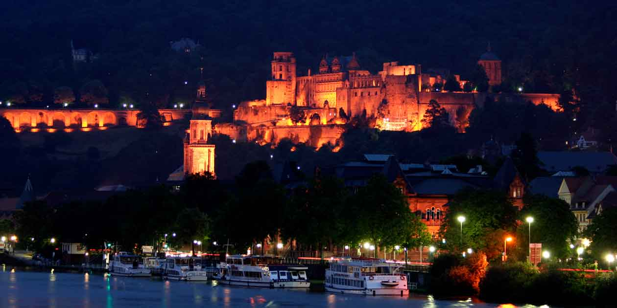 Heidelberg Castle in Heidelberg, Germany, lights up on a warm summer night. Photo by Raul Lieberwith , licensed under (CC BY-NC-ND 2.0).