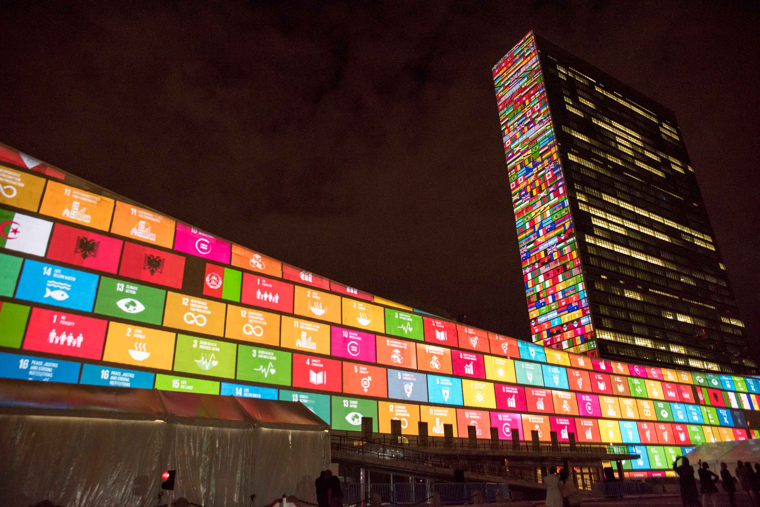 A lightshow to launch the UN's Sustainable Development Goals is seen on the facades of the General Assembly and Secretariat buildings in New York City on September 22nd, 2015.