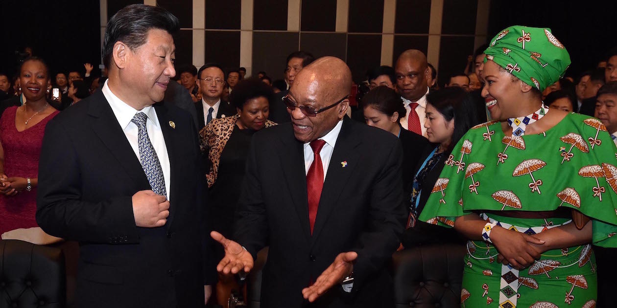 China's President Xi Jinping and South Africa's President Jacob Zuma and his wife converse at the 2015 Forum on China-Africa Cooperation (FOCAC) in Sandton, Johannesburg. Photo by GCIS, licensed under (CC BY-ND 2.0).