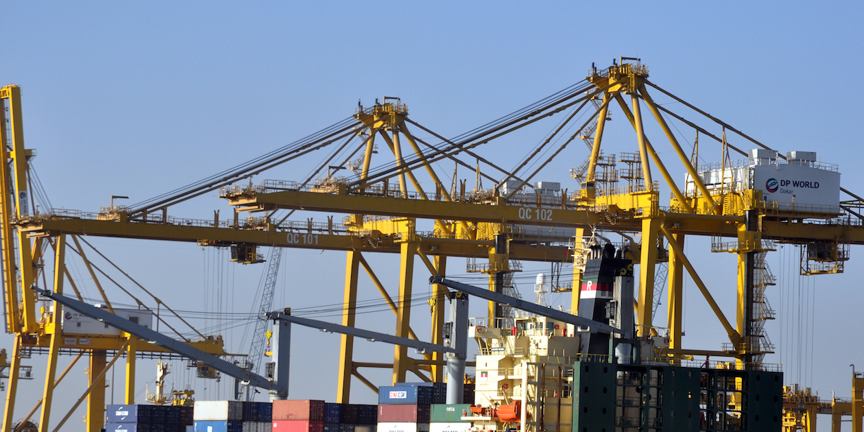 Containers stacked high at Dakar, Senegal's capital city and a major port.