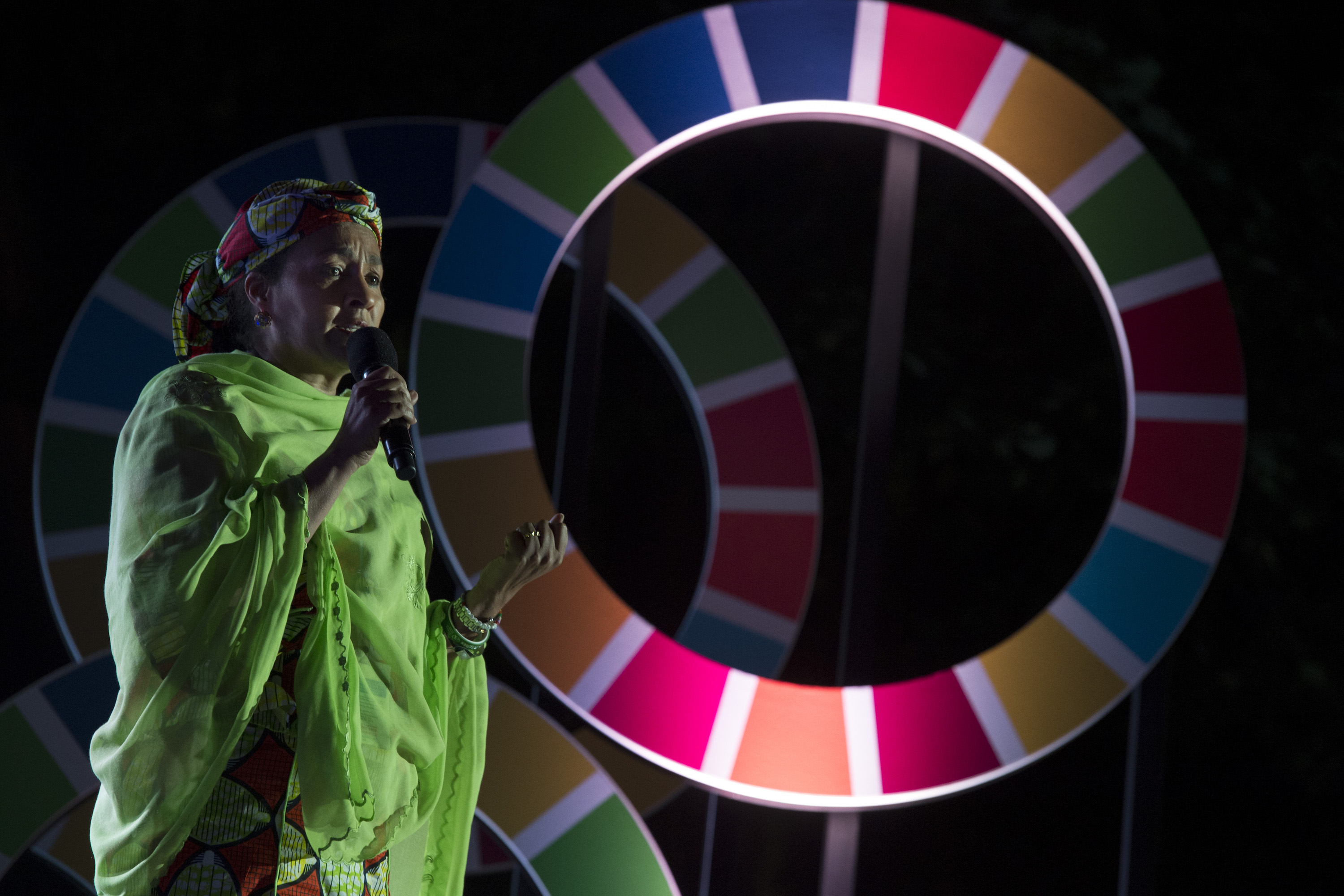 Amina Mohammed, UN Special Advisor on Post-2015 Development Planning, speaks about the Sustainable Development Goals (SDGs) in 2015. Photo by UN Photo/Mark Garten, licensed under (CC BY-NC-ND 2.0).