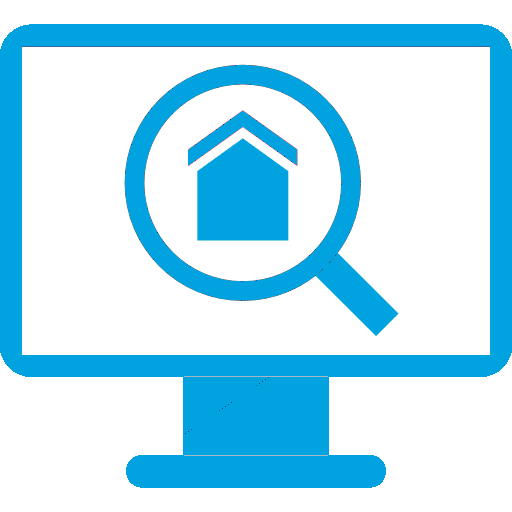 House Inside a Search Symbol on a Computer Monitor