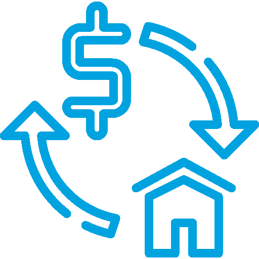 Dollar Sign with Arrow Pointing to Home with Arrow Pointing Back to Dollar Sign