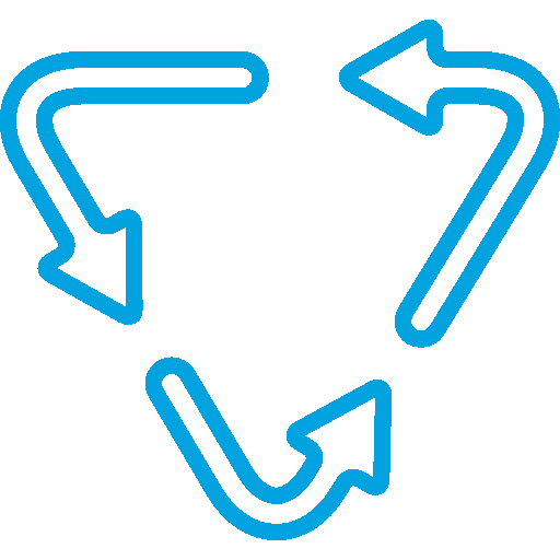 Three Curved Arrows Forming a Triangle