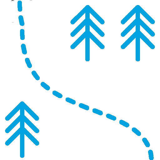 Curved Dashed Line with Two Trees on One Side and One Tree on the Other Side