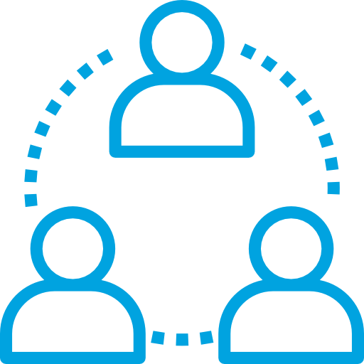 Three People Connected by a Dashed Circle
