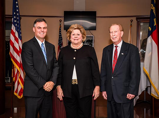 Commissioners Kiger, Honeycutt and Shue after their December 3 swearing-in ceremony at the Government Center