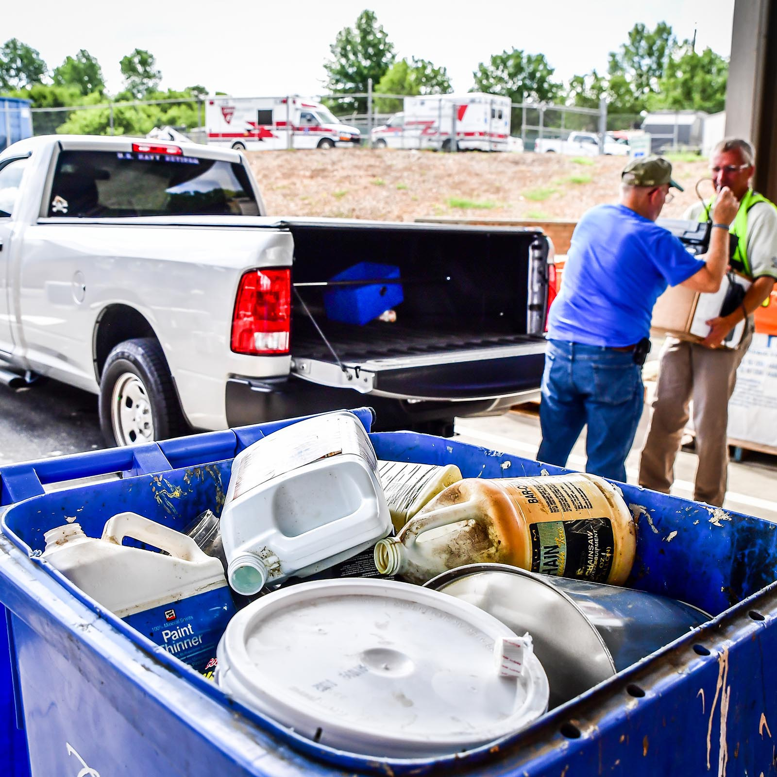 Residents bring materials to HHW collection days