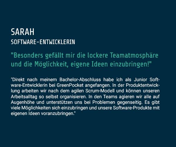 Zitat Sarah - Software-Entwicklerin