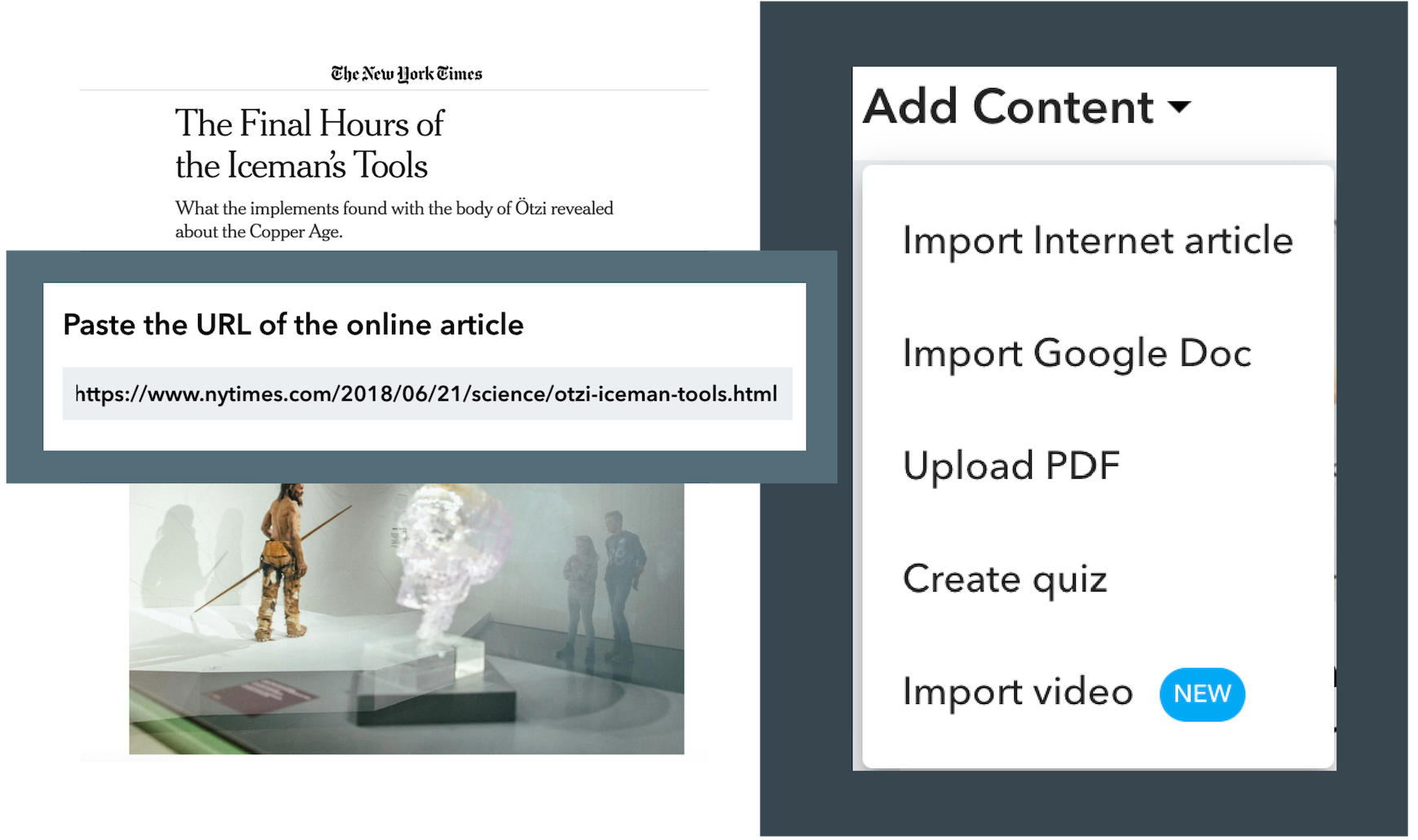 Instructions for easily importing an Internet article, importing a Google Doc, uploading a PDF, creating a quiz, and importing a video