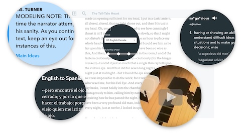 Translation, definition, text-to-speech, and an embedded video within the text assignment