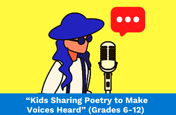 An assignment on kids sharing poetry, featuring a student reciting a poem at a microphone