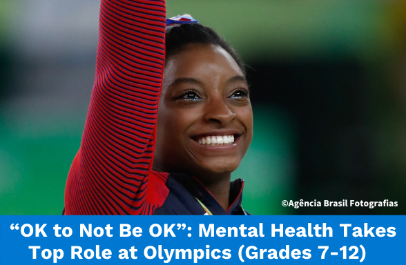 Simone Biles as one USA Olympic champion showing self-care during the competitions