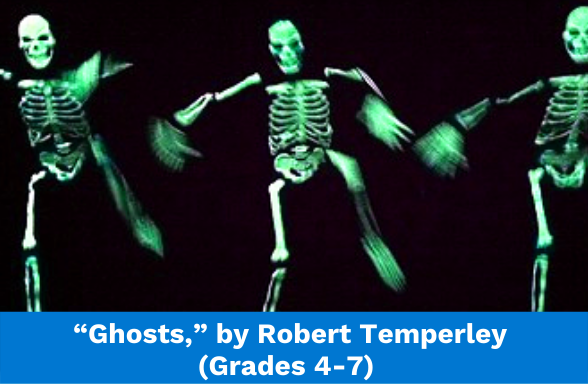 """Skeletons dancing, the featured image for the poem """"Ghosts,"""" by Robert Temperley"""