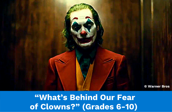 """The Joker gazing at the camera, from the Warner Bros movie, the featured image for the video """"What's Behind Our Fear of Clowns?"""""""