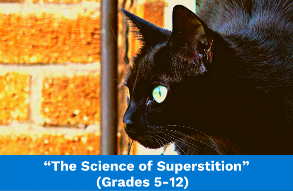"""A black cat halfway out a window in a brick building, the featured image for the article """"The Science of Superstition"""""""