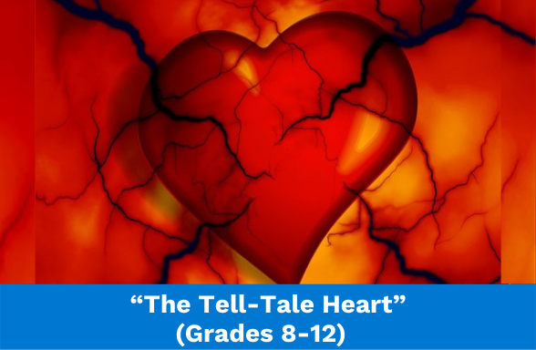 """a red heart with black veins and arteries, the featured image for Edgar Allan Poe's """"The Tell-Tale Heart"""""""