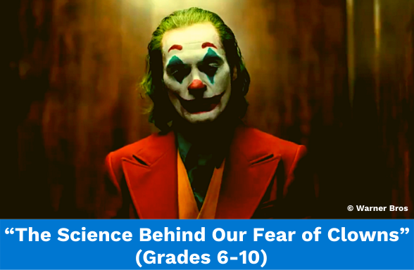 """The Joker, featured from the Warner Bros movie, illustrates the video assignments """"The Science Behind Why Clowns Creep Us Out"""""""