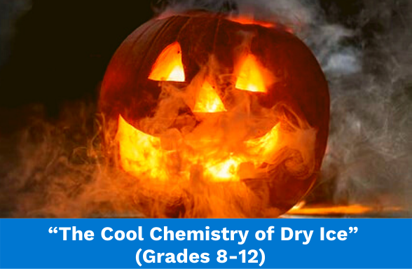 """A steaming jack-o-lantern illustrates the assignment """"The Cool Chemistry of Dry Ice"""""""