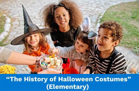 """Children in Halloween costumes illustrating the elementary school assignment """"The History of Halloween Costumes"""""""