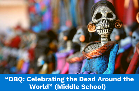A colorful Mexican calavera illustrates the Actively Learn middle school DBQ: Celebrating the Dead Around the World