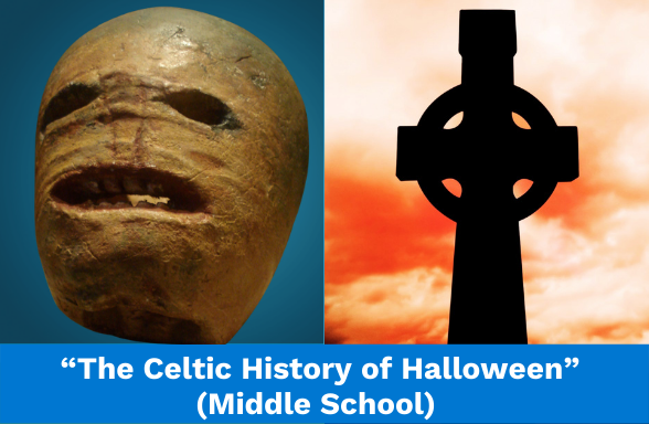 """A turnip lantern artifact from Ireland and a Celtic cross, illustrating the middle school history text """"The Celtic History of Halloween"""""""
