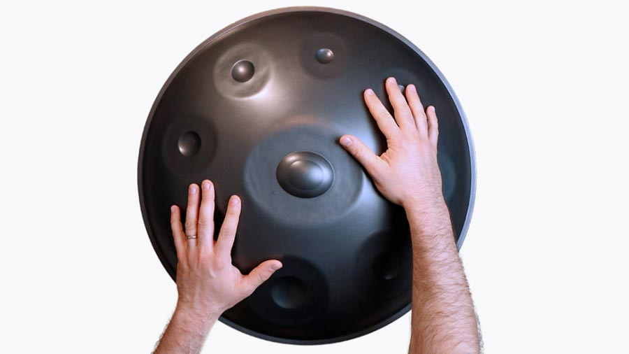 Handpan tutorials are recorded from above