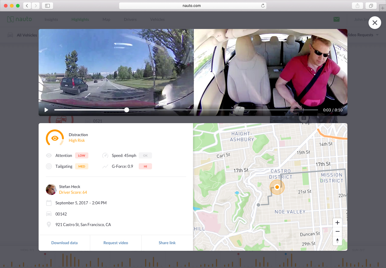 Screenshot of bi-directional video and contextual event analysis