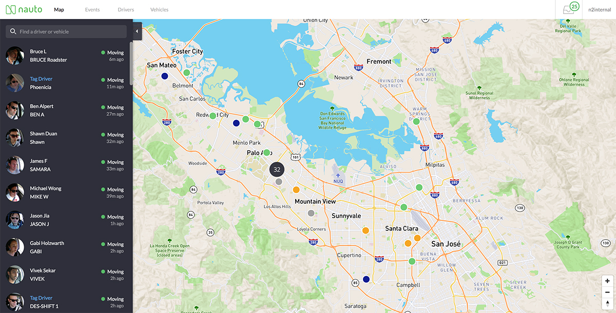 Screenshot of a live map
