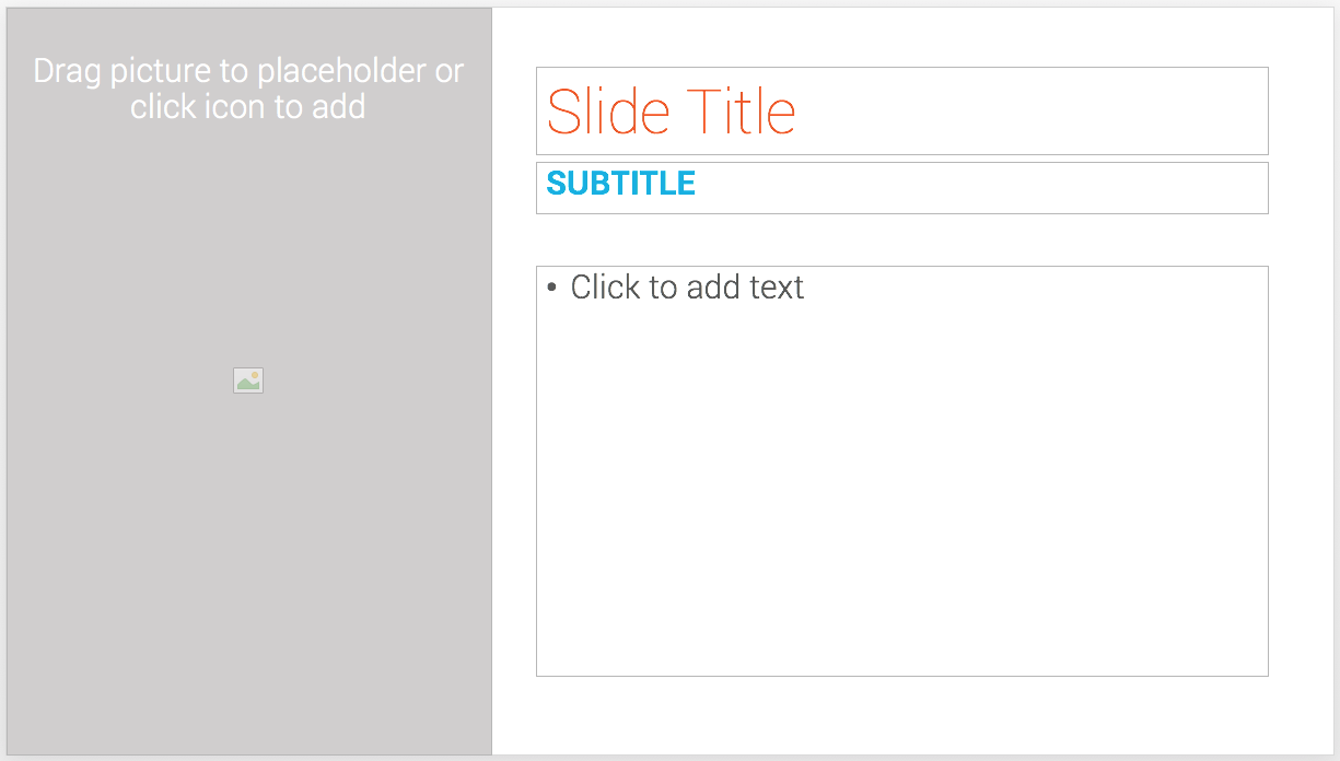 An empty template slide in PowerPoint
