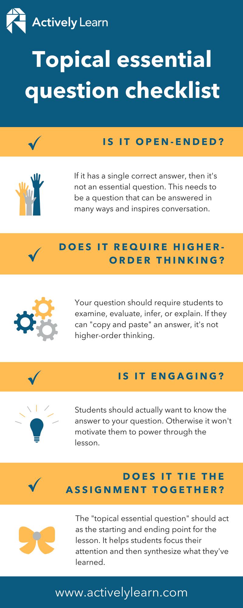 Topical essential question checklist