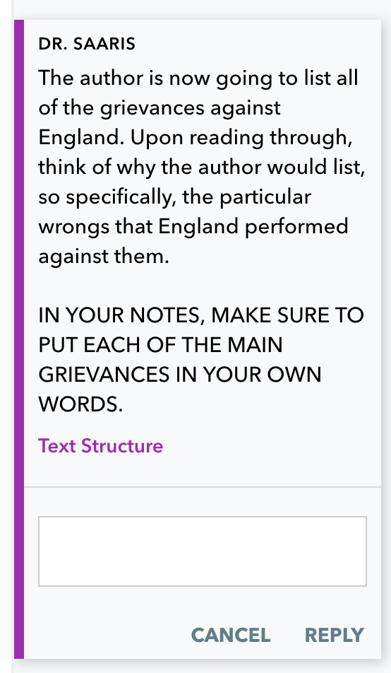 A teacher's instruction to annotate points in the text