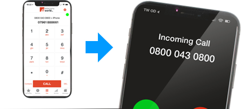 With TW Dial Out, you can make calls from your mobile but display your business number on the receiving phone and maintain a professional image.