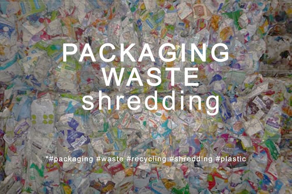 Broyage, déchiquetage des déchets d'emballages multicouches en plastique