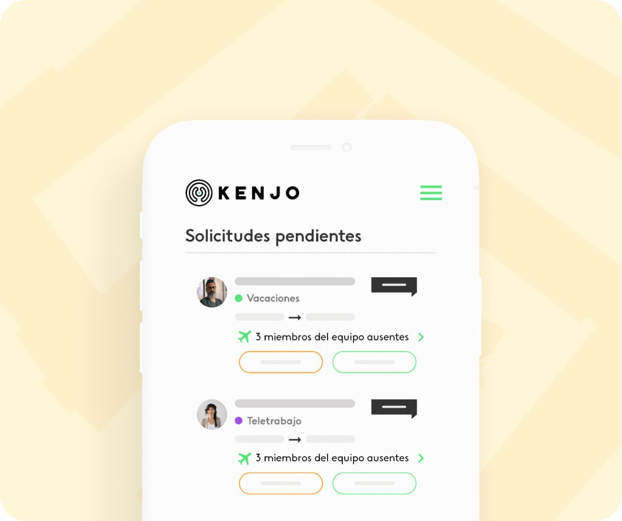interfaz de la funcionalidad de vacaciones y ausencias de Kenjo