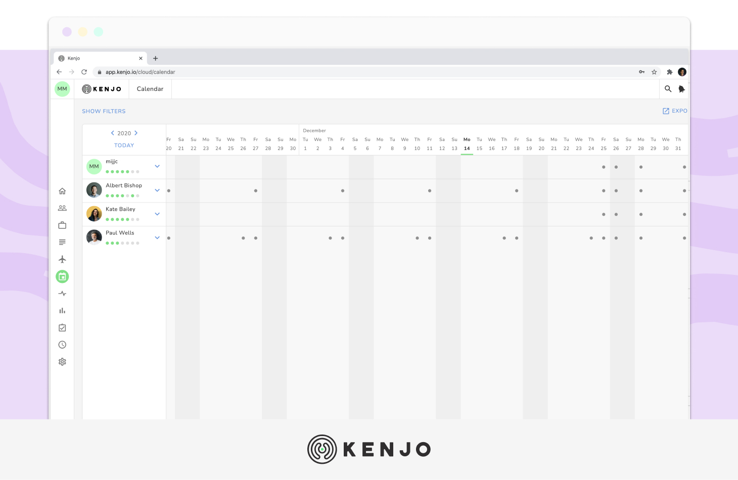 kenjo's Absence and leave management interface