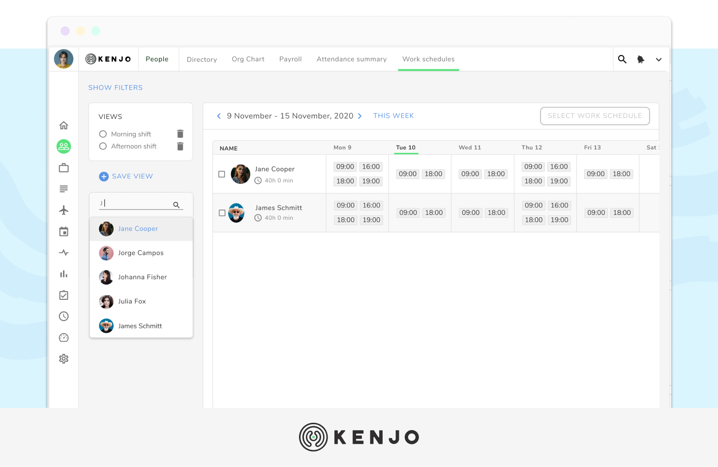 Kenjo time tracking software