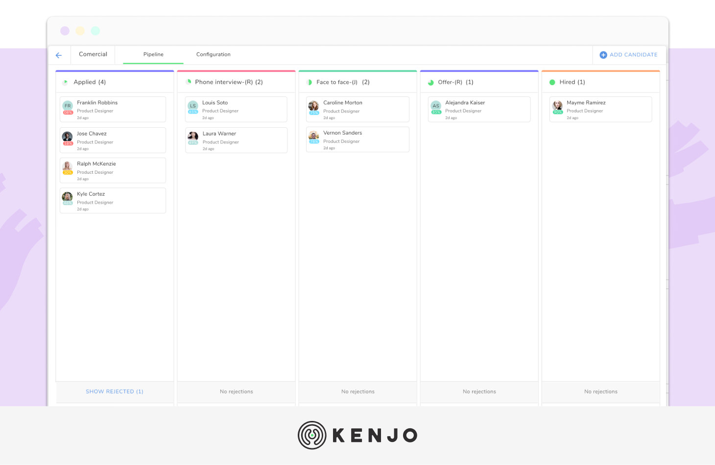 interface del software de reclutamiento de Kenjo
