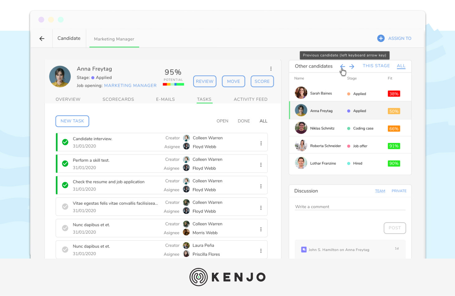 interface del software ATS de Kenjo