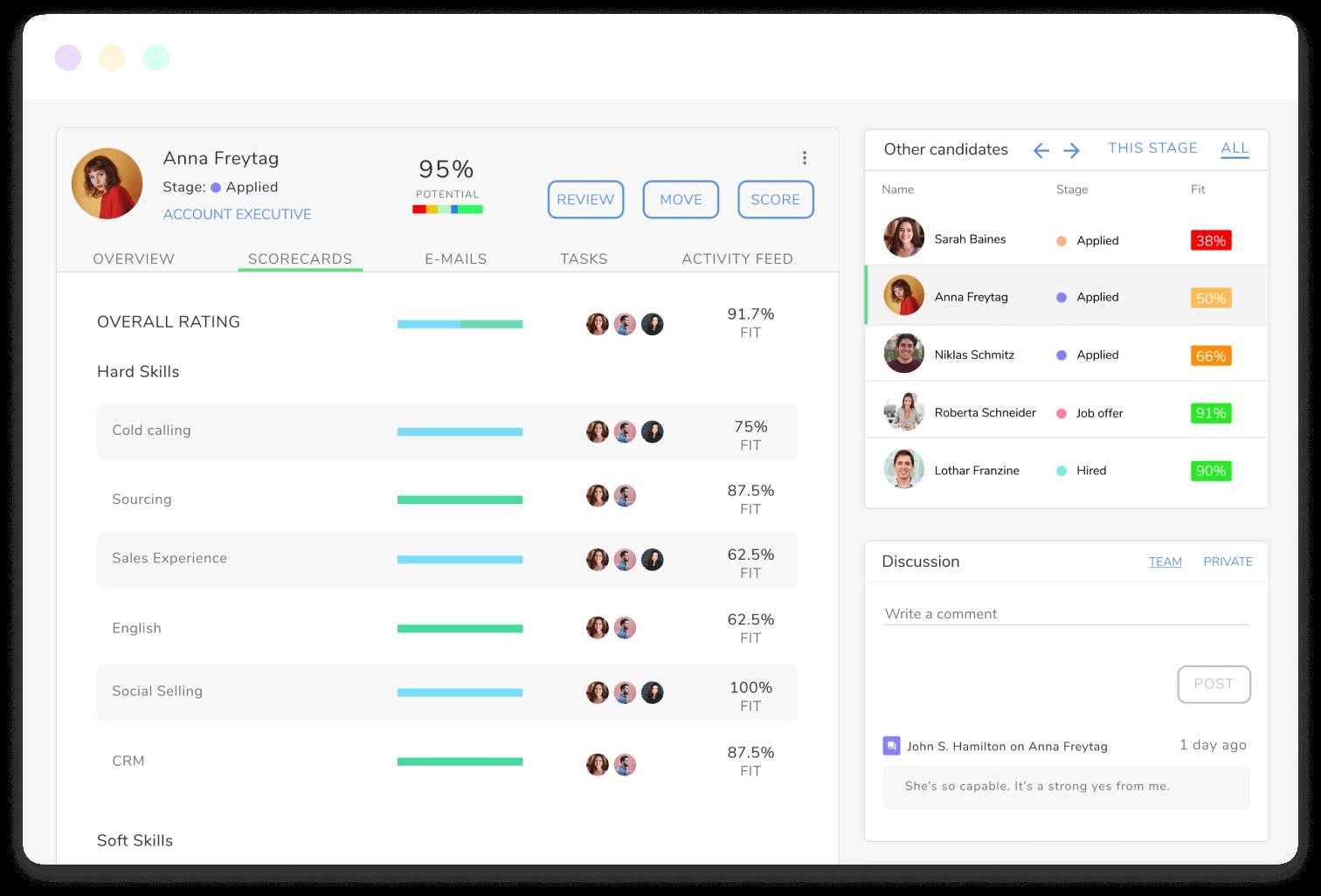 interface of Kenjo's recruitment software