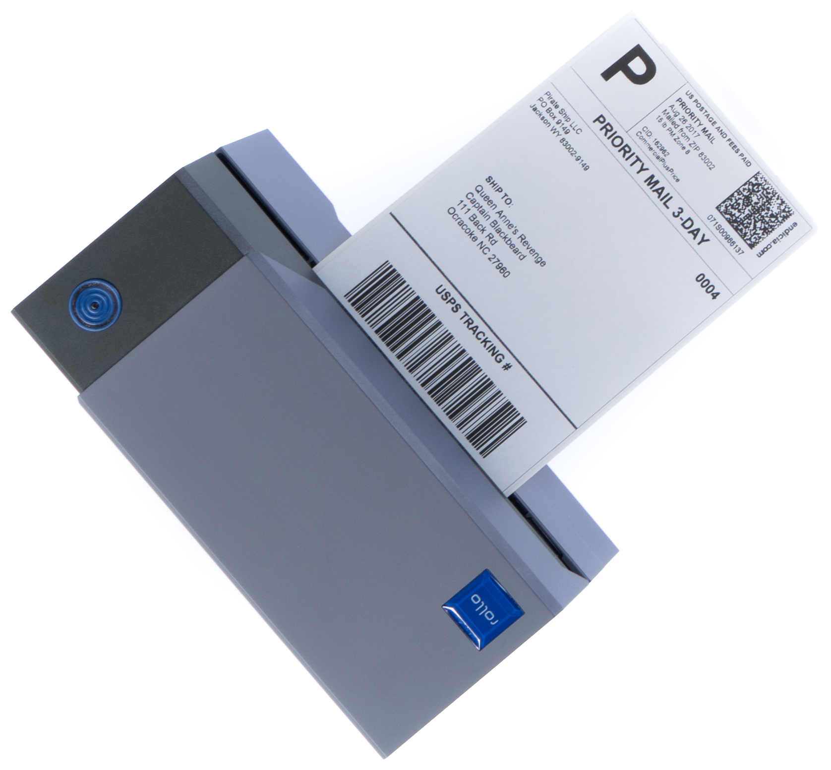 Rollo Label Printer with a Priority Mail postage label