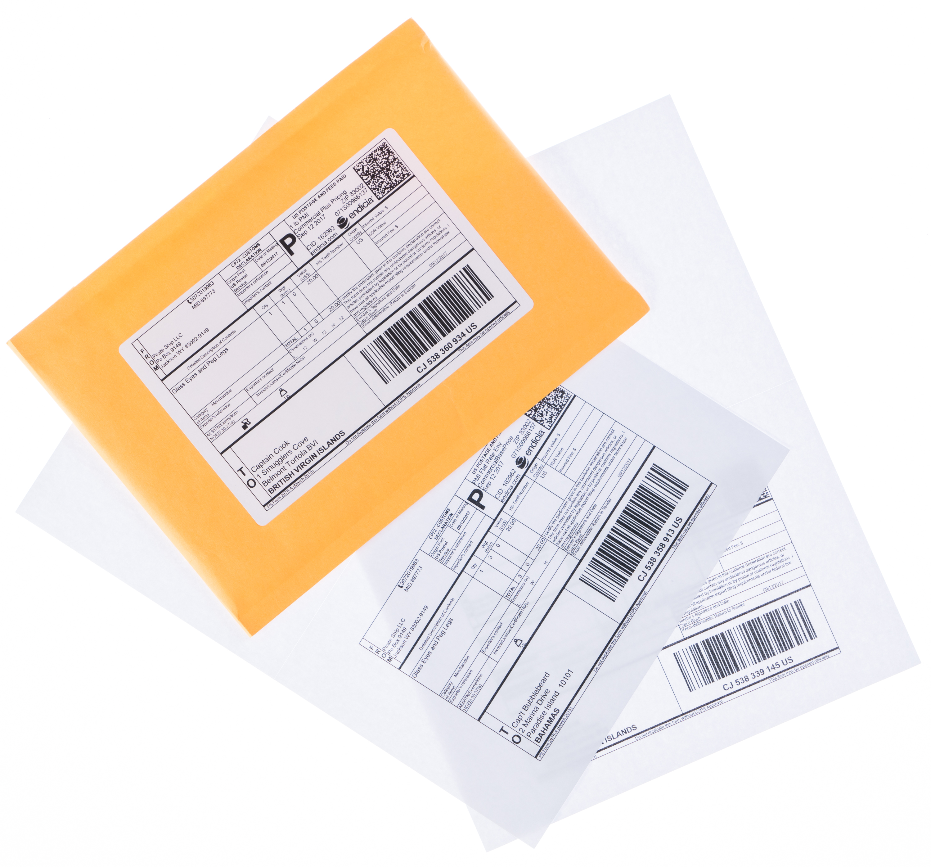 International shipping envelope and labels