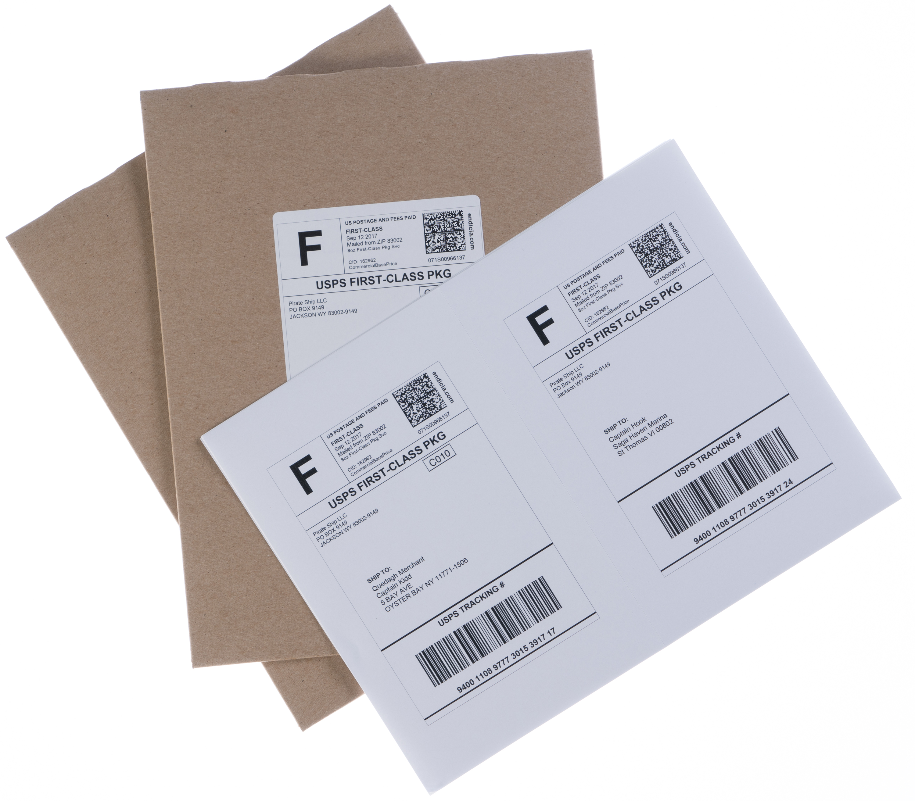 First Class Package shipping labels and envelopes