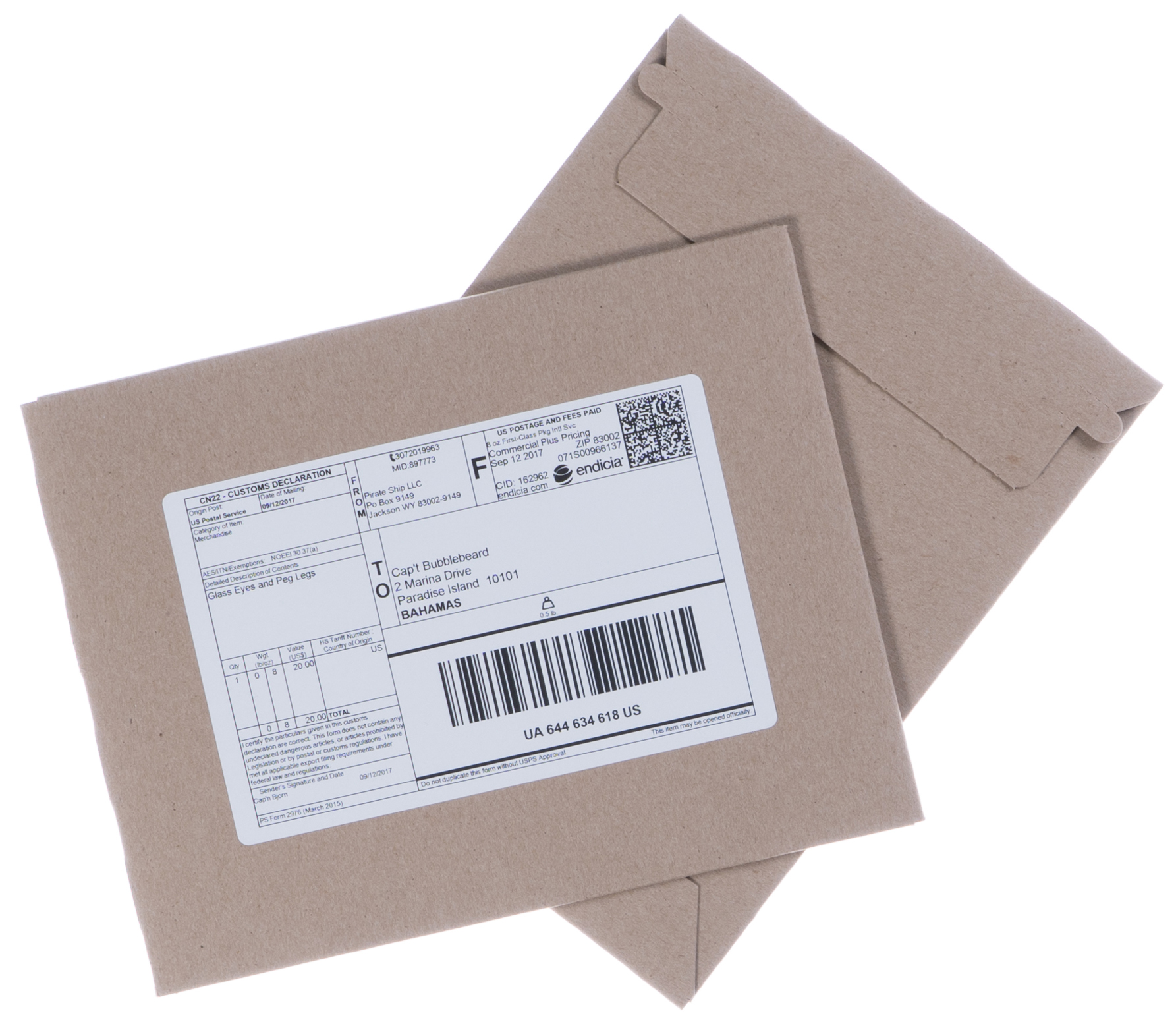 USPS First Class Package envelopes