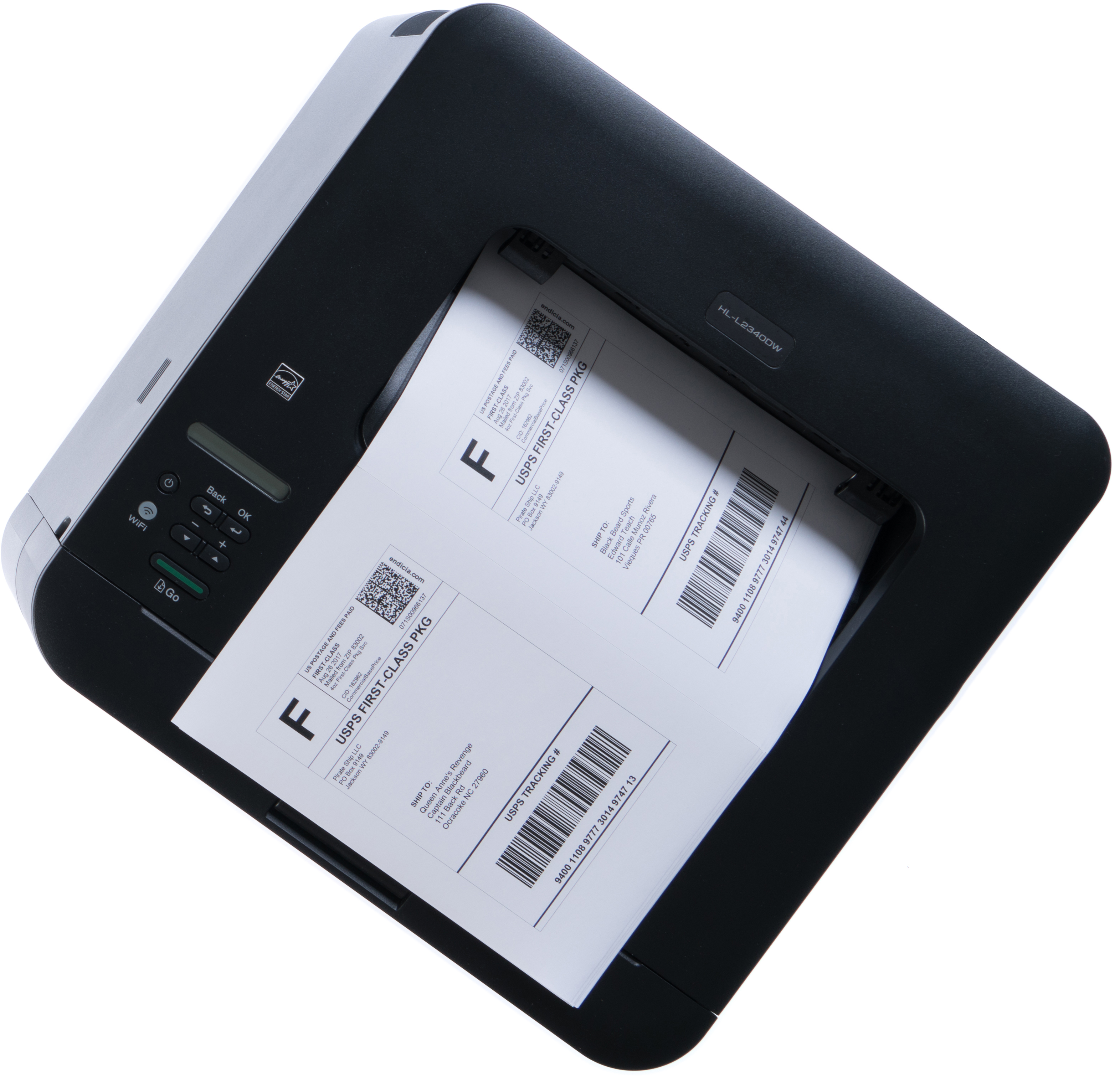 Laser printer with First Class Package shipping labels