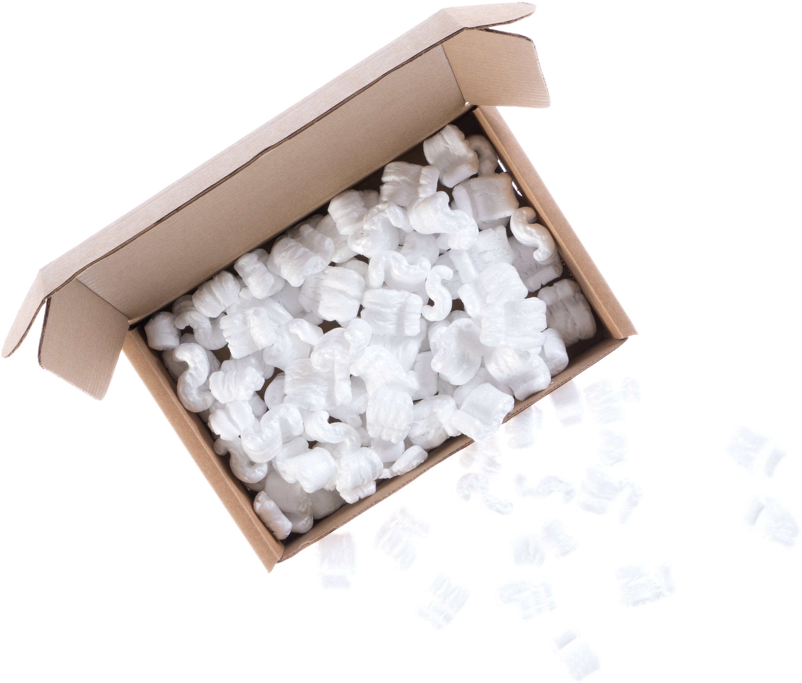 Empty cardboard shipping box with packing peanuts
