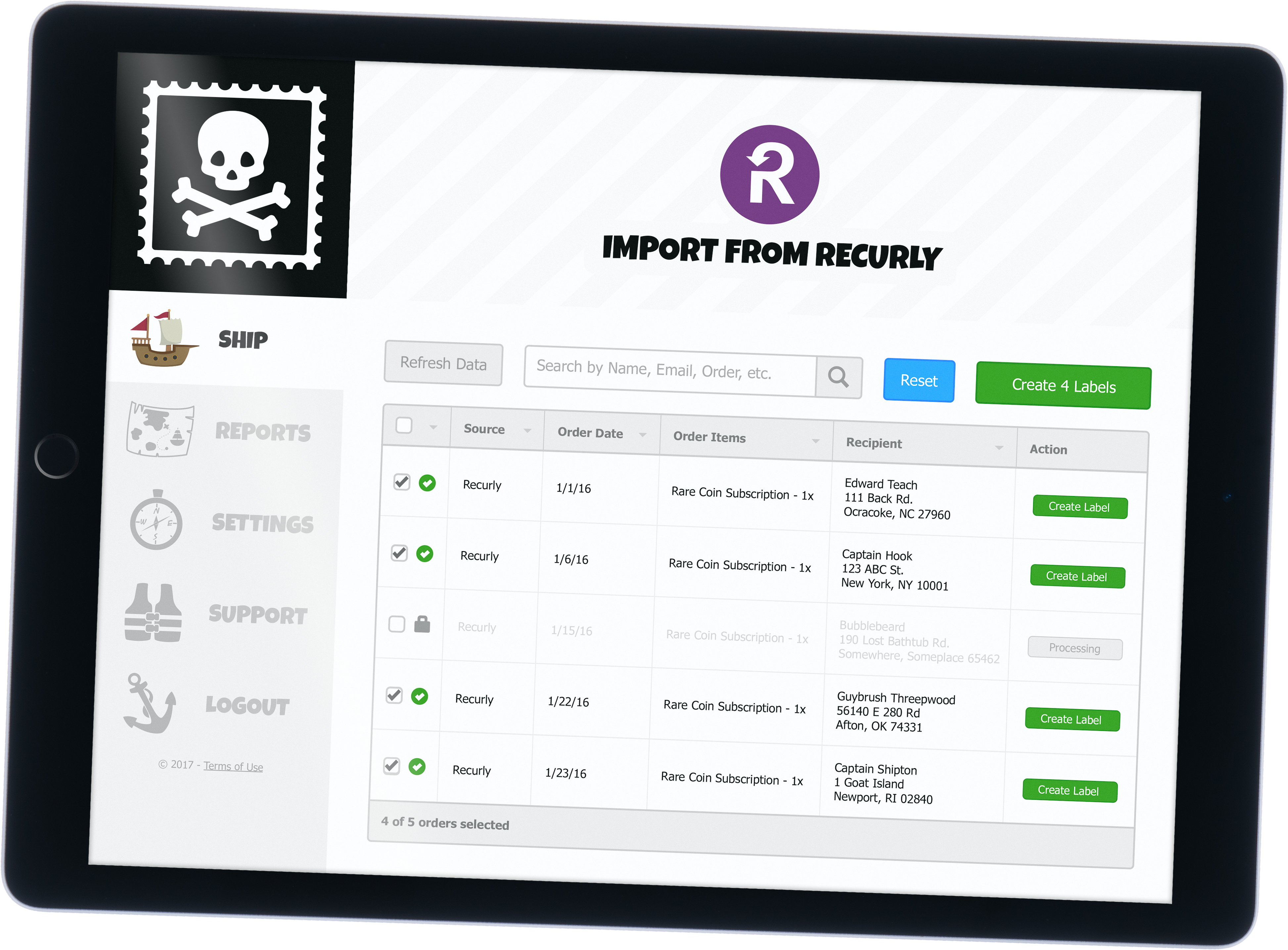 Recurly shipping software