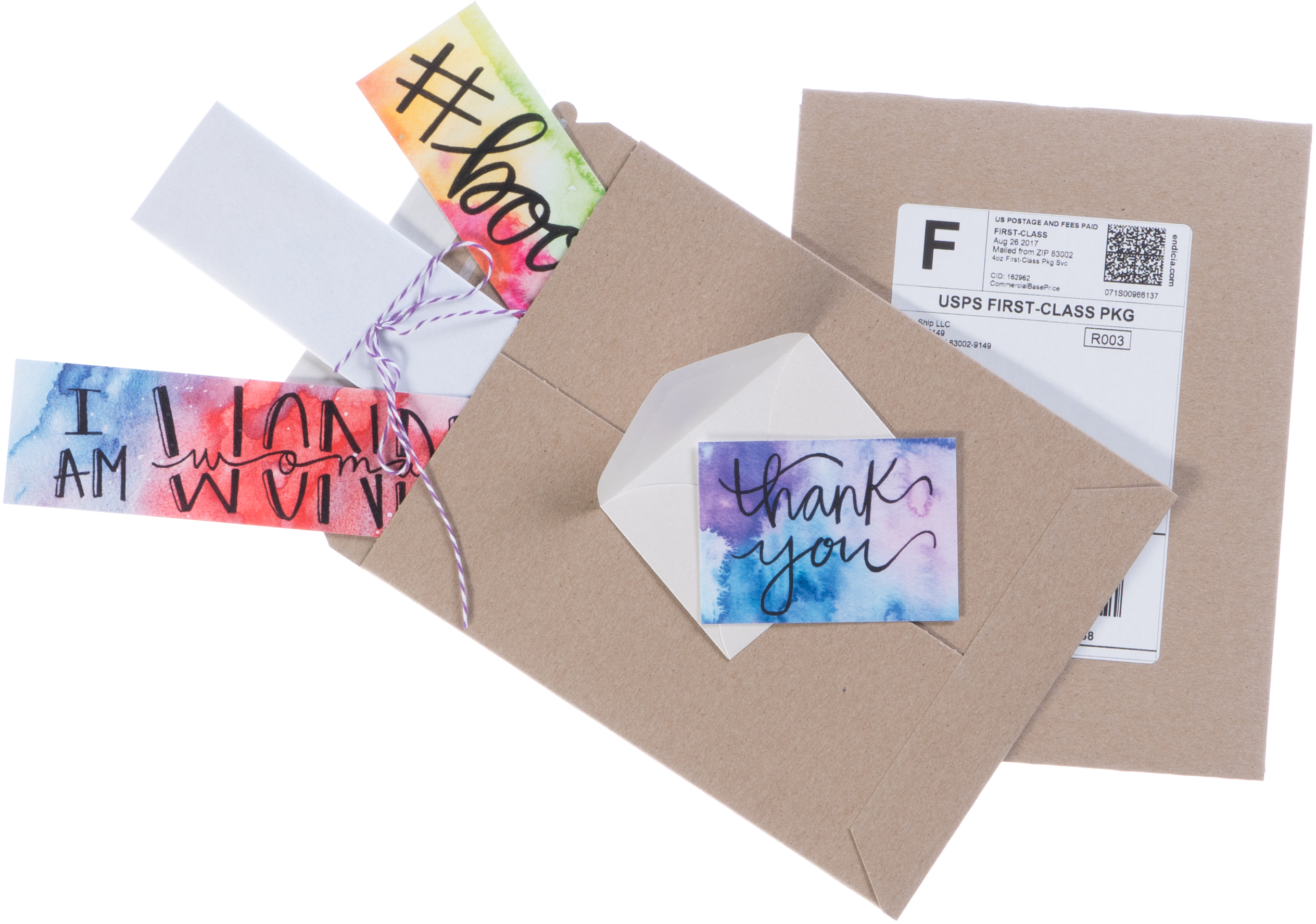 Bookmarks and cards shipped with First Class Package