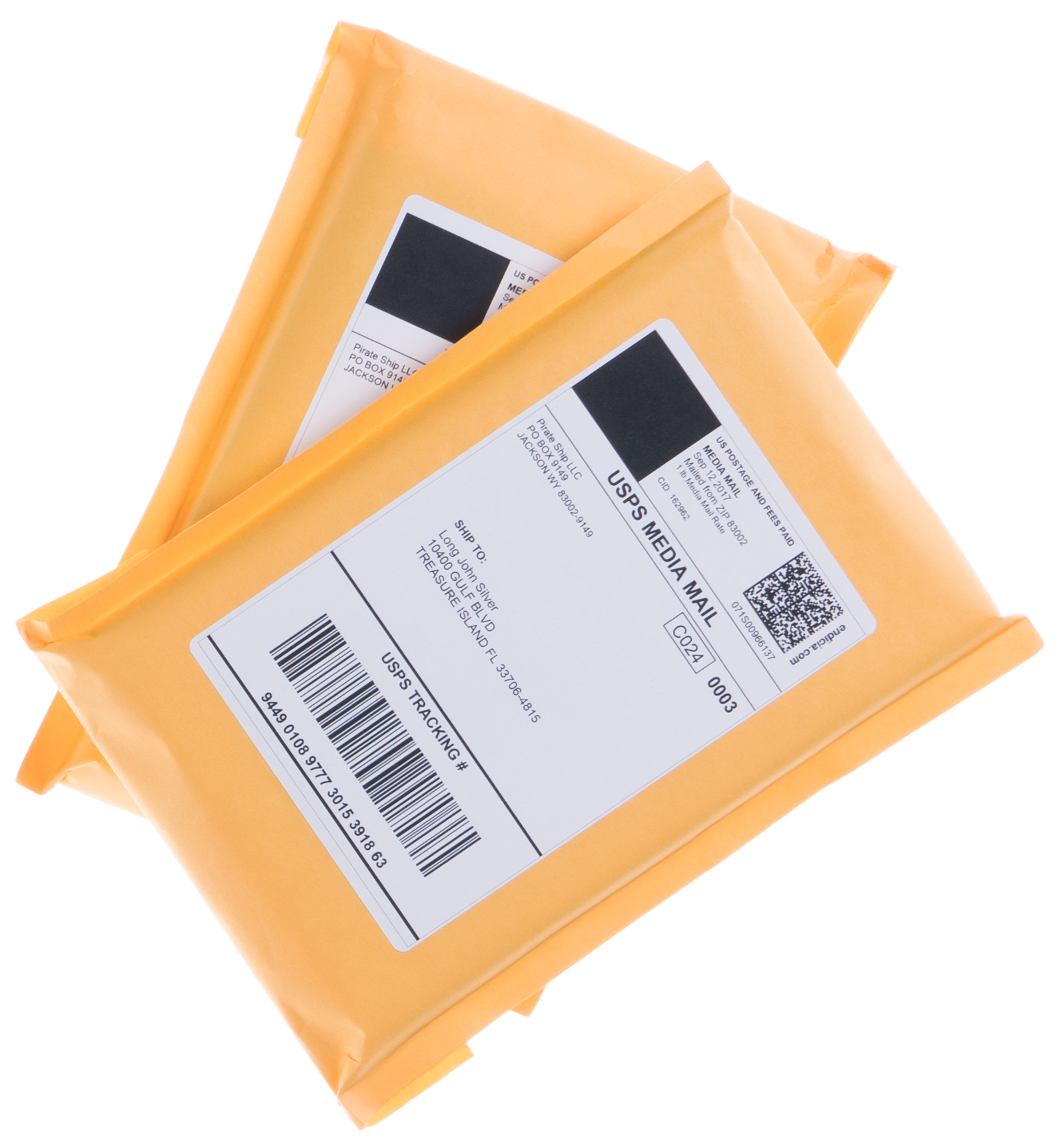 Shipping envelopes with USPS Media Mail postage