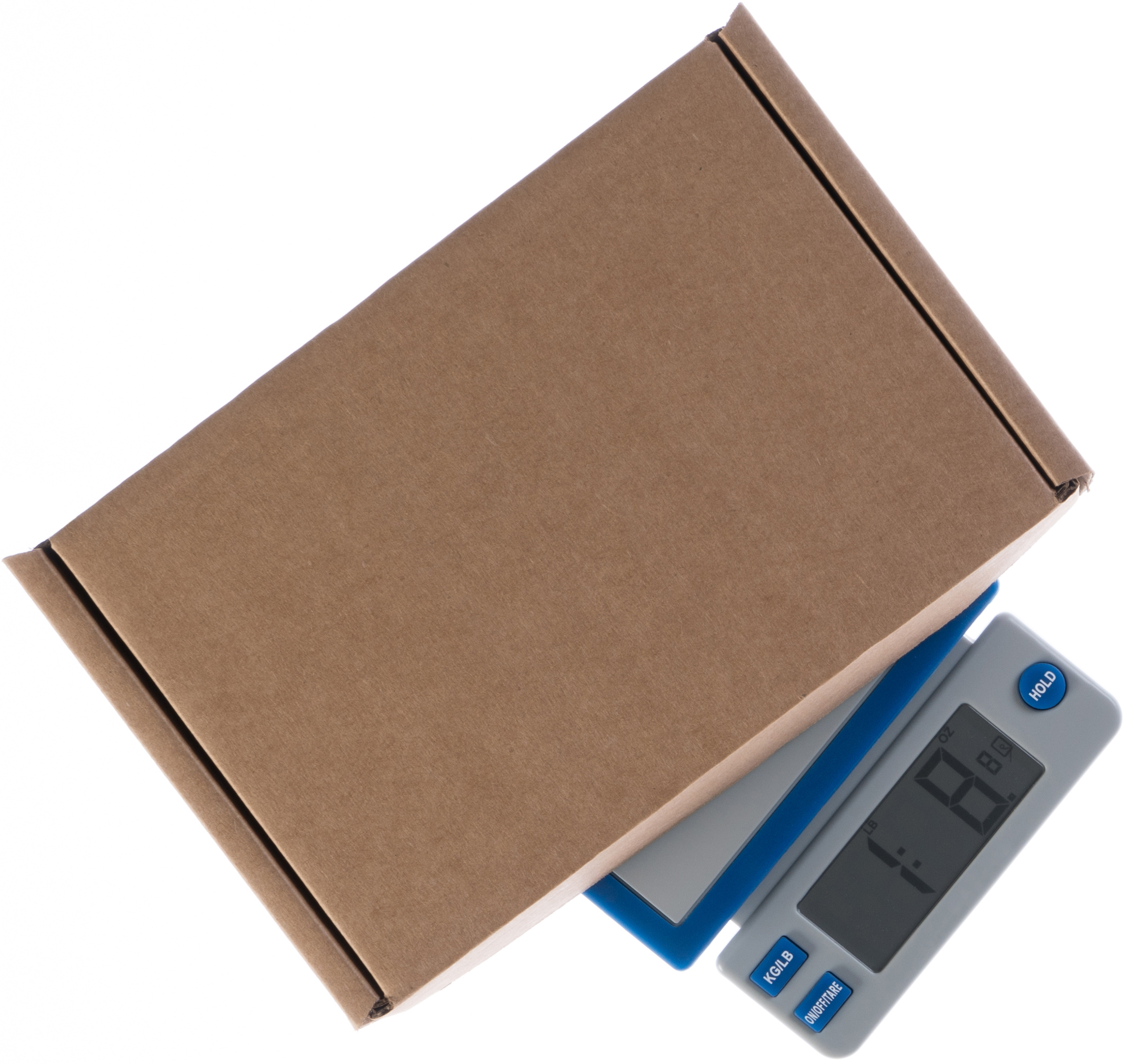 Shipping scale with a cardboard box